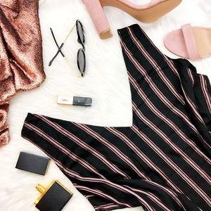 Black & Metallic Rose Gold Stripe Sleeveless Top